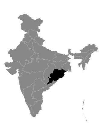 Black Location Map of Indian State of Odisha within Grey Map of India