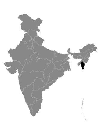 Black Location Map of Indian State of Mizoram within Grey Map of India Ilustração
