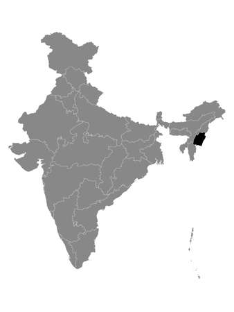 Black Location Map of Indian State of Manipur within Grey Map of India