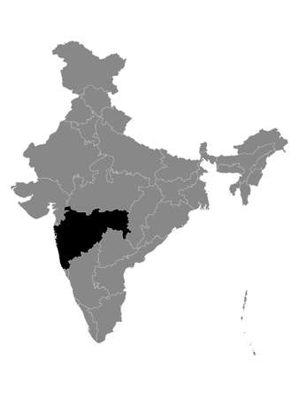 Black Location Map of Indian State of Maharashtra within Grey Map of India