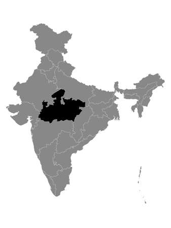 Black Location Map of Indian State of Madhya Pradesh within Grey Map of India