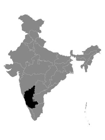 Black Location Map of Indian State of Karnataka within Grey Map of India