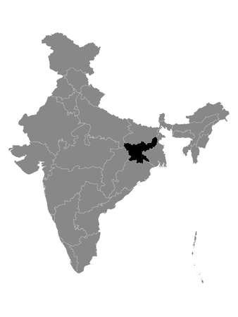 Black Location Map of Indian State of Jharkhand within Grey Map of India Çizim