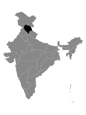 Black Location Map of Indian State of Himachal Pradesh within Grey Map of India