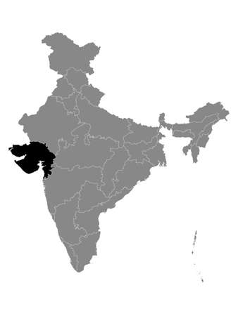 Black Location Map of Indian State of Gujarat within Grey Map of India