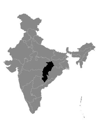 Black Location Map of Indian State of Chhattisgarh within Grey Map of India