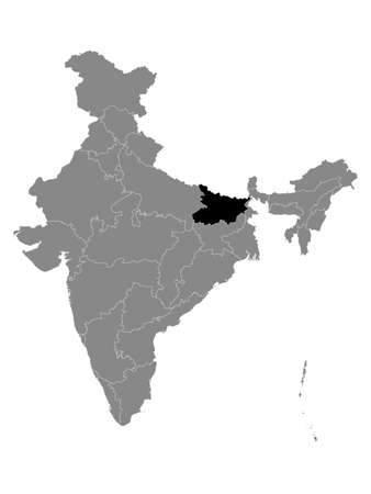 Black Location Map of Indian State of Bihar within Grey Map of India