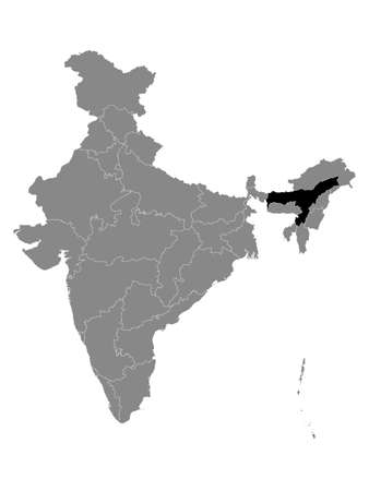 Black Location Map of Indian State of Assam within Grey Map of India