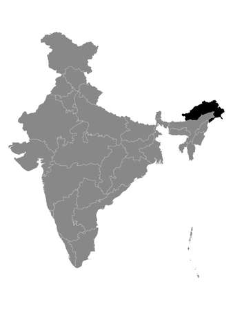 Black Location Map of Indian State of Arunachal Pradesh within Grey Map of India