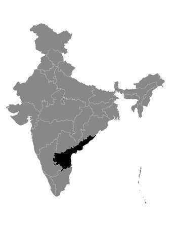 Black Location Map of Indian State of Andhra Pradesh within Grey Map of India