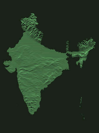 Tactical Military Emerald 3D Topography Map of Asian Country of India