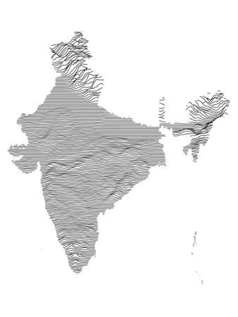 Gray 3D Topography Map of Asian Country of India