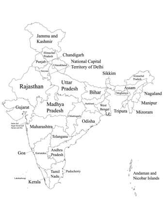 White Labeled States and Union Territories Map of Asian Country of India Çizim