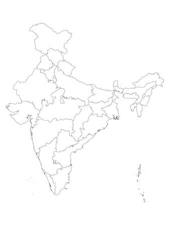 White States and Union Territories Map of Asian Country of India
