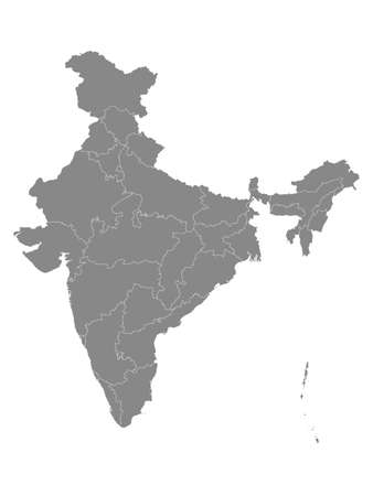Gray States and Union Territories Map of Asian Country of India
