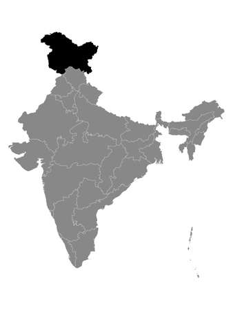 Black Location Map of Indian Union Territory of Jammu and Kashmir (with Ladakh) within Grey Map of India