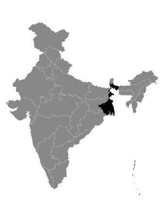 Black Location Map of Indian State of West Bengal within Grey Map of India Çizim