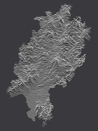 Dark Black and White 3D Contour Topography Map of German Federal State of Hesse