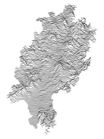Black and White 3D Contour Topography Map of German Federal State of Hesse Çizim