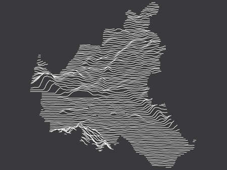 Dark Black and White 3D Contour Topography Map of German Federal State of Free and Hanseatic City of Hamburg
