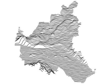 Black and White 3D Contour Topography Map of German Federal State of Free and Hanseatic City of Hamburg