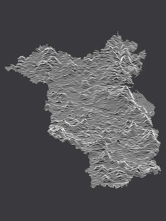 Dark Black and White 3D Contour Topography Map of German Federal State of Brandenburg