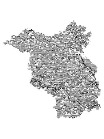 Black and White 3D Contour Topography Map of German Federal State of Brandenburg