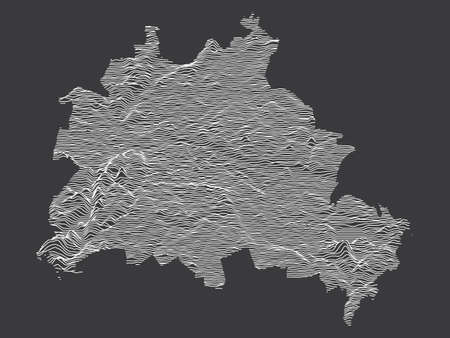 Dark Black and White 3D Contour Topography Map of German Federal State of Berlin