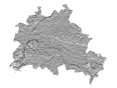 Black and White 3D Contour Topography Map of German Federal State of Berlin