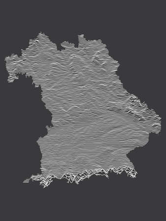 Dark Black and White 3D Contour Topography Map of German Federal State of Free State of Bavaria