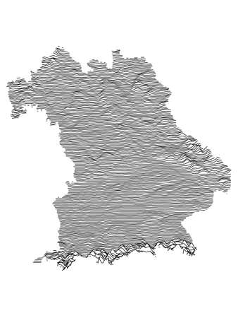 Black and White 3D Contour Topography Map of German Federal State of Free State of Bavaria