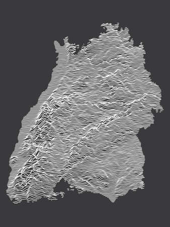 Dark Black and White 3D Contour Topography Map of German Federal State of Baden-Wurttemberg