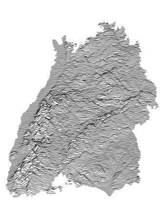 Black and White 3D Contour Topography Map of German Federal State of Baden-Wurttemberg