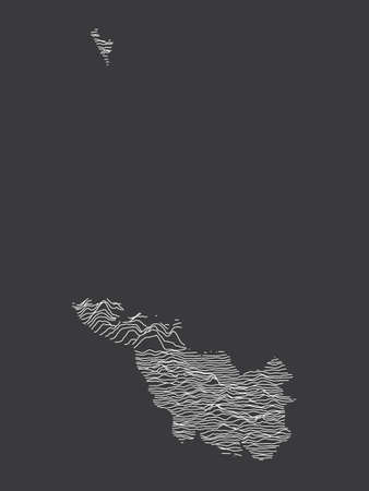 Dark Black and White 3D Contour Topography Map of German Federal State of Free Hanseatic City of Bremen Çizim