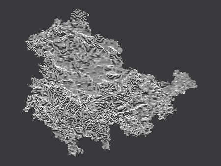Dark Black and White 3D Contour Topography Map of German Federal State of Thuringia