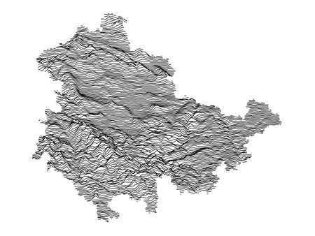 Black and White 3D Contour Topography Map of German Federal State of Thuringia Çizim
