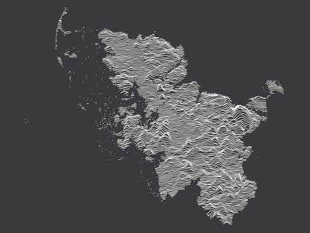 Dark Black and White 3D Contour Topography Map of German Federal State of Schleswig-Holstein