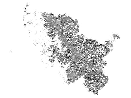 Black and White 3D Contour Topography Map of German Federal State of Schleswig-Holstein