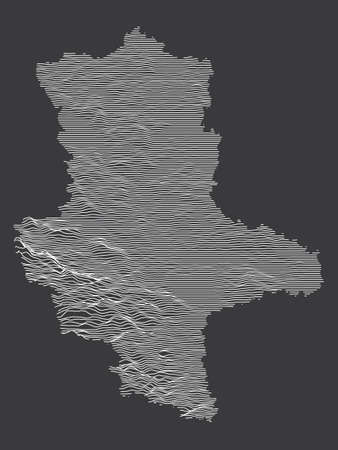Dark Black and White 3D Contour Topography Map of German Federal State of Saxony-Anhalt