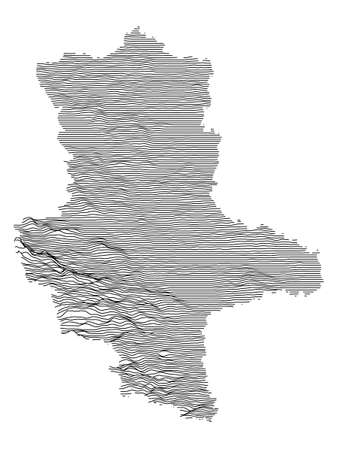 Black and White 3D Contour Topography Map of German Federal State of Saxony-Anhalt