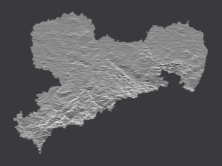 Dark Black and White 3D Contour Topography Map of German Federal State of Saxony