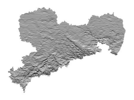 Black and White 3D Contour Topography Map of German Federal State of Saxony