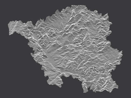 Dark Black and White 3D Contour Topography Map of German Federal State of Saarland
