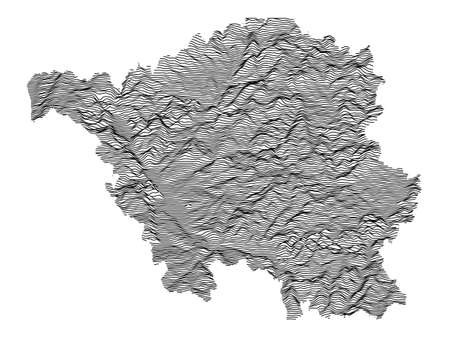 Black and White 3D Contour Topography Map of German Federal State of Saarland