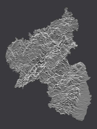 Dark Black and White 3D Contour Topography Map of German Federal State of Rhineland-Palatinate