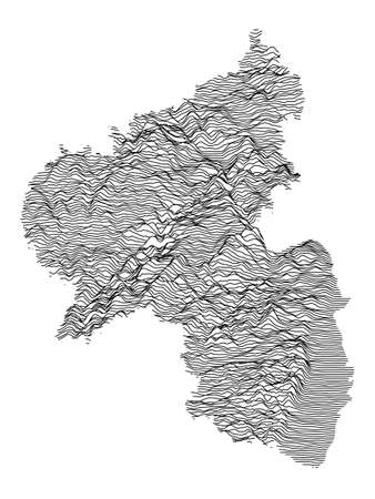 Black and White 3D Contour Topography Map of German Federal State of Rhineland-Palatinate Çizim