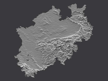 Dark Black and White 3D Contour Topography Map of German Federal State of North Rhine-Westphalia