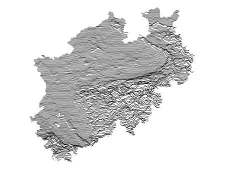 Black and White 3D Contour Topography Map of German Federal State of North Rhine-Westphalia