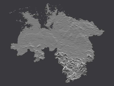Dark Black and White 3D Contour Topography Map of German Federal State of Lower Saxony