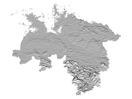 Black and White 3D Contour Topography Map of German Federal State of Lower Saxony Çizim
